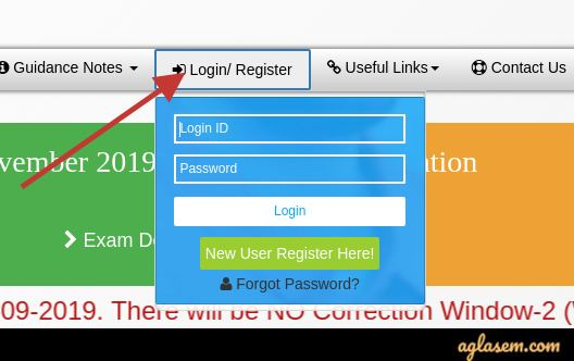 CA intermediate 2020 admit card login