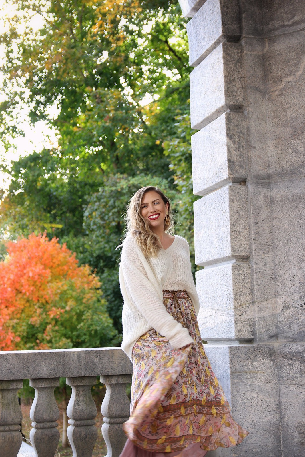 Cozy Free People Oversized Sweater | Boho Maxi Skirt