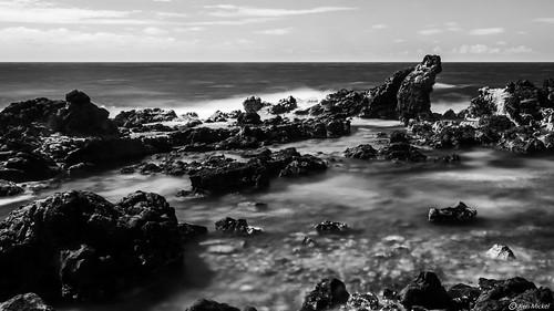 coast hawaii hookipabeach kenmickelphotography landscape longexposure longexposurephotography maui ocean outdoors seashore simplesky sky waterscape blackandwhite photography water haiku unitedstatesofamerica