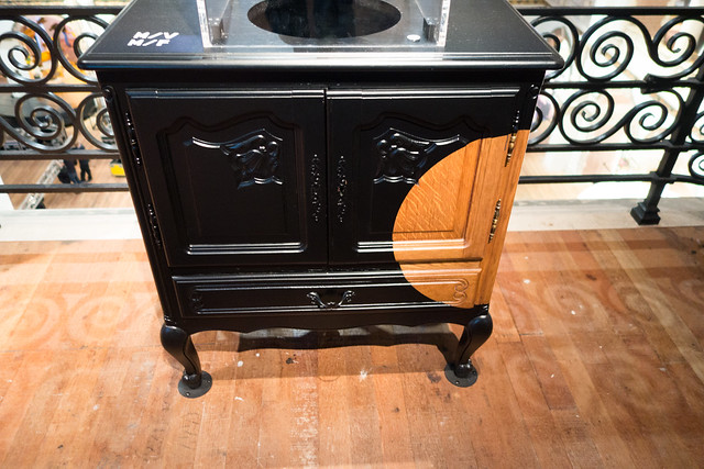 Partially blackened cabinet