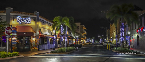 street cityscape night nighttime buildings architecture restaurant boutique cafe palms palmtree tree lights stuart florida downtown martincounty usa outdoors