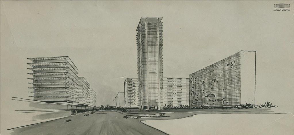 Vista geral do projeto arquitetônico e urbanístico do Guarujá, novembro de 1959