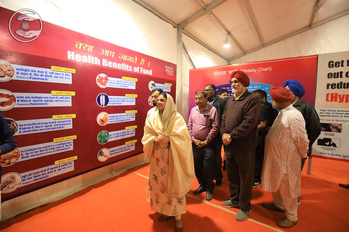 Her Holiness viewing the Health Exhibition