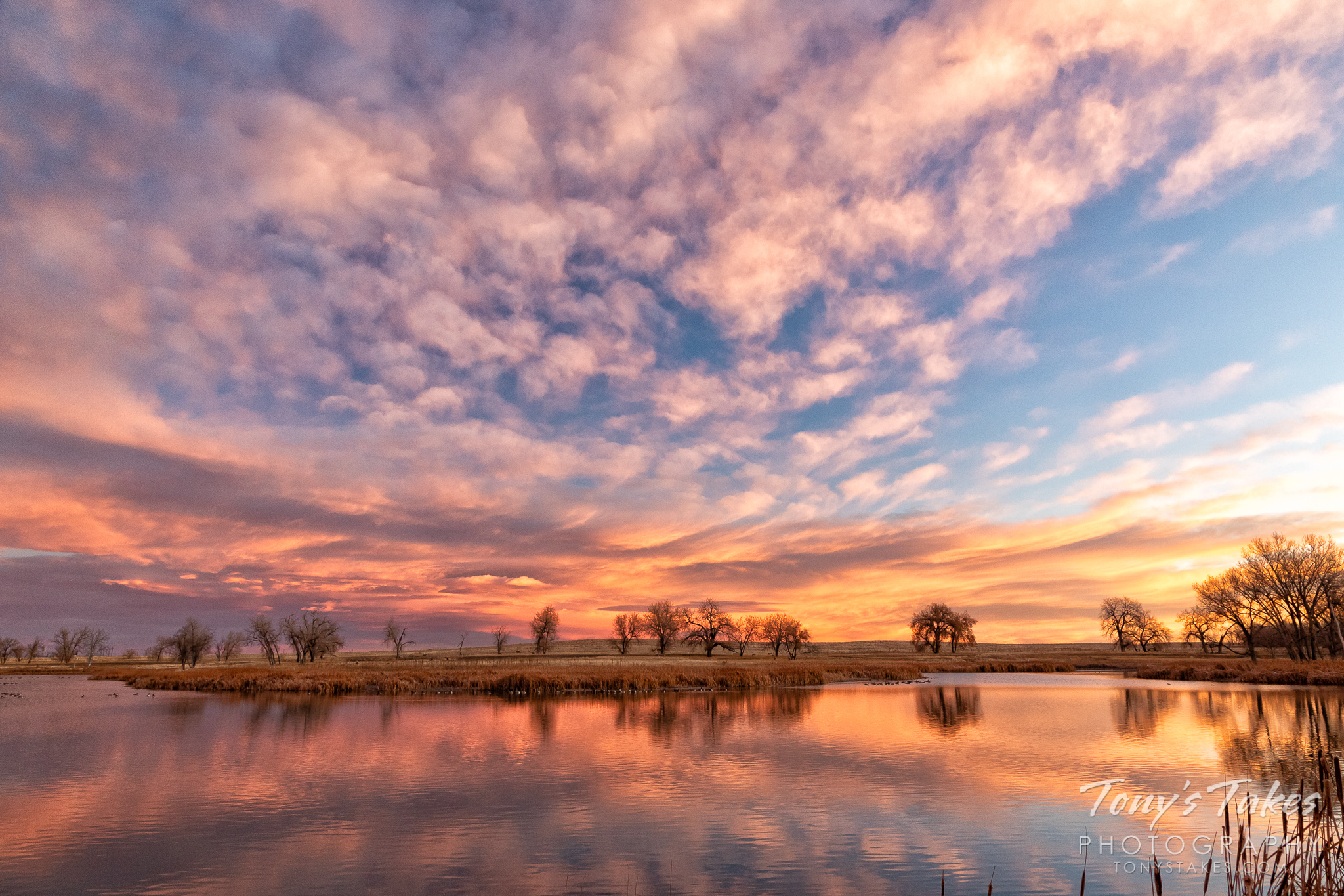 A colorful sunrise is reflected on the waters of a lake near Denver, Colorado. (© Tony's Takes)