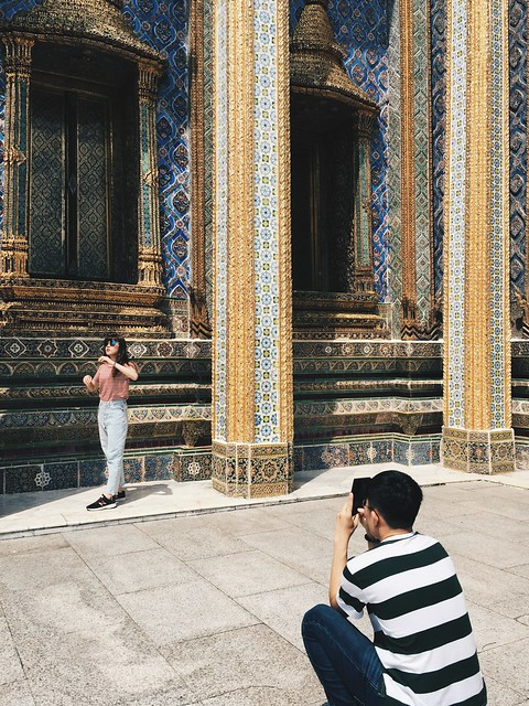 Tourists in Temple, Bangkok, Thailand