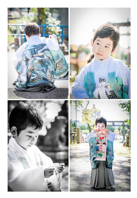 七五三 5歳の男の子 白の羽織