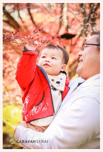 紅葉した葉を見つめる赤ちゃん
