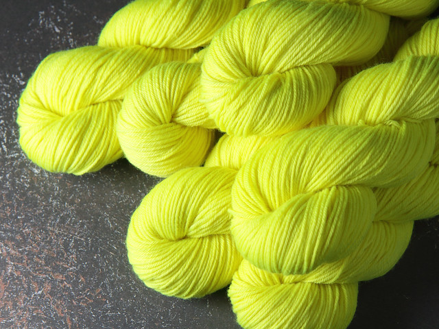 Dynamite DK hand-dyed superwash British pure wool yarn 100g – 'Health and Safety Gone Mad' (neon yellow)