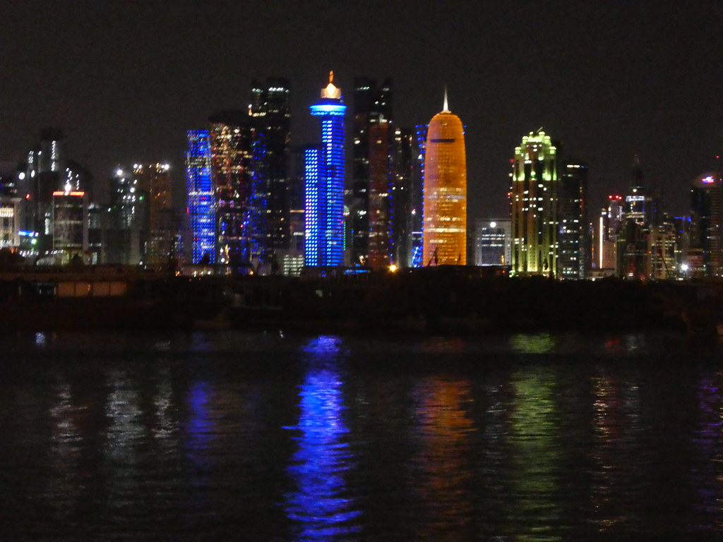 The West Bay skyline as viewed from the Corniche at night Doha
