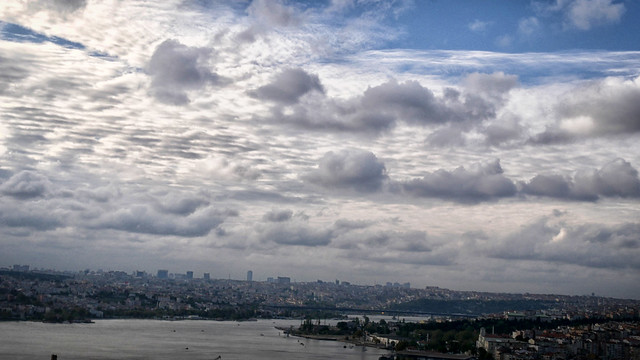 Istanbul's Galata Tower: cityscape/skyline view of the city