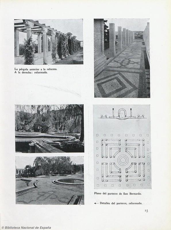 Jardines del Monasterio de San Bernardo tras su reforma en 1928-1930. Biblioteca Nacional de España.