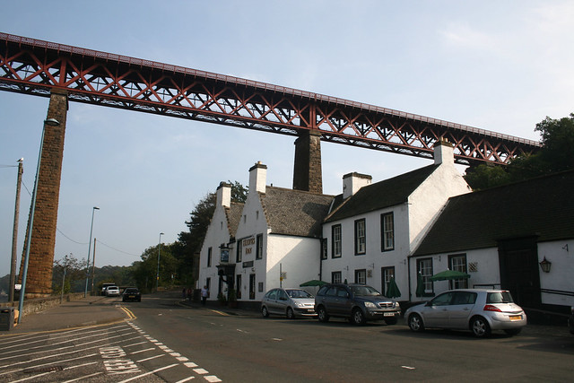 The Forth Rail Bridge towers over Queensferry