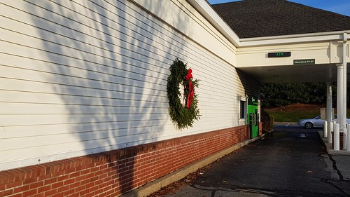 Wreath and tree shadow