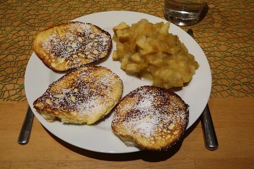 Quarkpuffer mit Apfelkompott