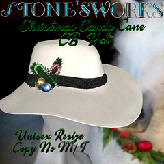 Christmas CandyCn CB Hat Wht Stone's Works