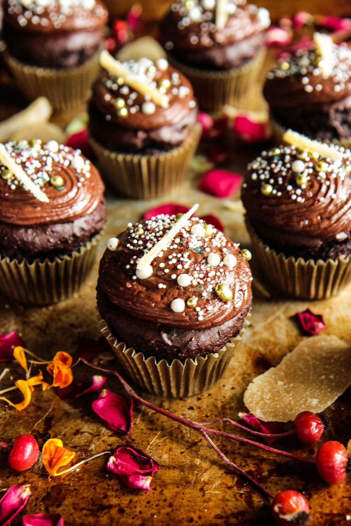 Dark Chocolate Ginger Cupcakes- Vegan and Gluten-free from HeatherChristo.com
