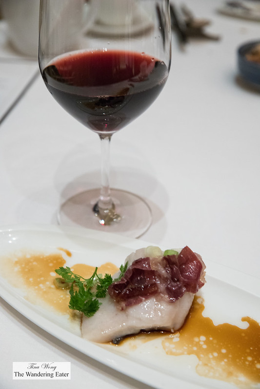 Steamed White Pomfret with Iberico ham in scallion oil 葱油火腿蒸白鲳 paired with Pinot Noir, Domaine Vincent Girardin, Bourgogne, France