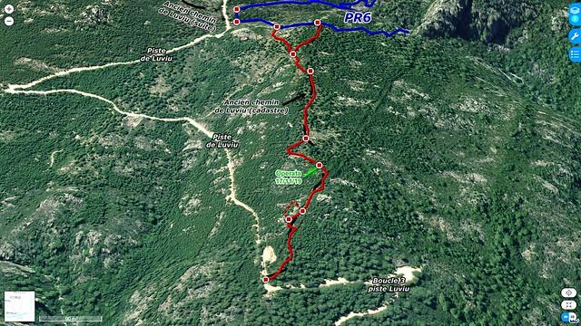 Photo 3D du secteur du chemin de Luviu entre la 3ème boucle et le col 480m du PR6