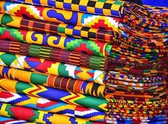Colourful Kente cloth in Ghana,
