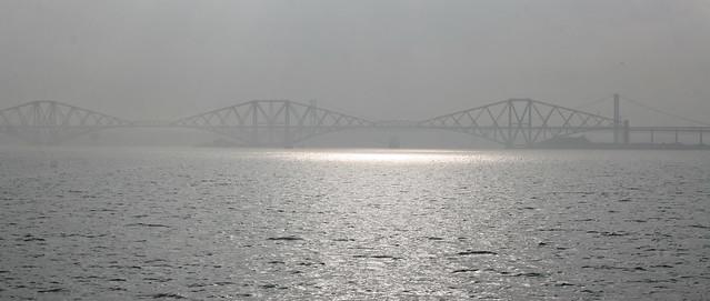 The Forth Rail bridge in the mist