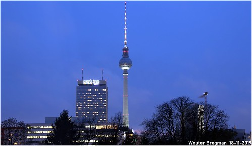 The Berlin TV Tower at blue hour