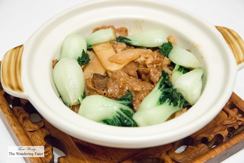 Braised wild mushrooms and fungus with gluten puff 素烧面筋