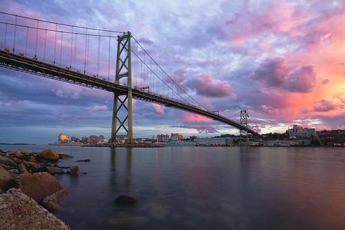 canada novascotia dartmouth city bridge sunset water clouds ns bridges halifax goldenhour halifaxharbour macdonaldbridge halifaxskyline halifaxbridges halifaxharbourbridges
