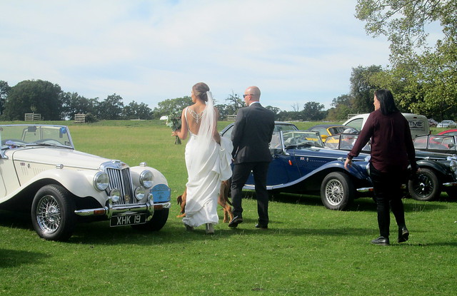 vintage cars, bridal party, Calke Abbey