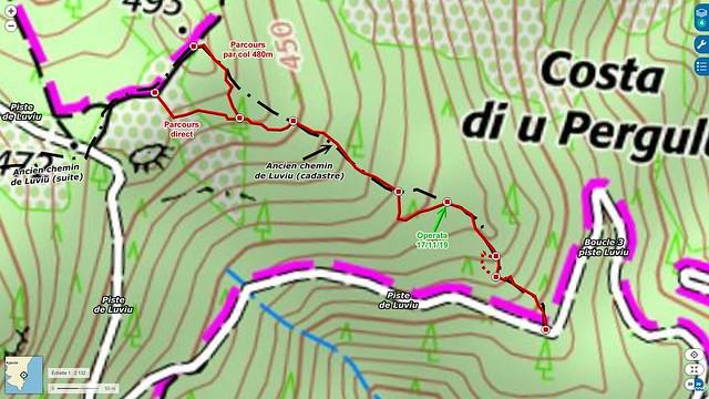 Carte IGN du secteur du chemin de Luviu entre la 3ème boucle et le col 480m du PR6
