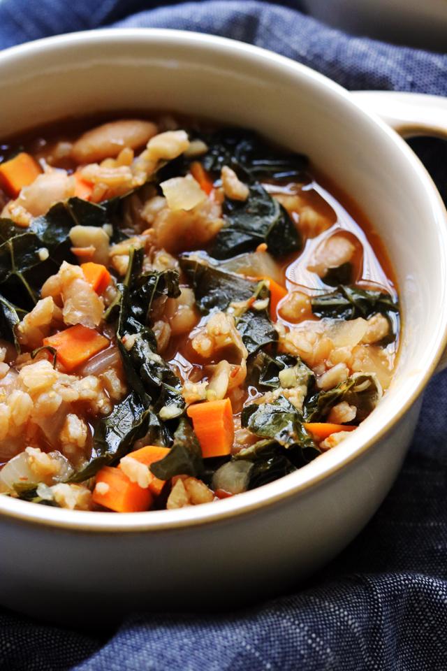 Tuscan White Bean, Kale, and Farro Stew