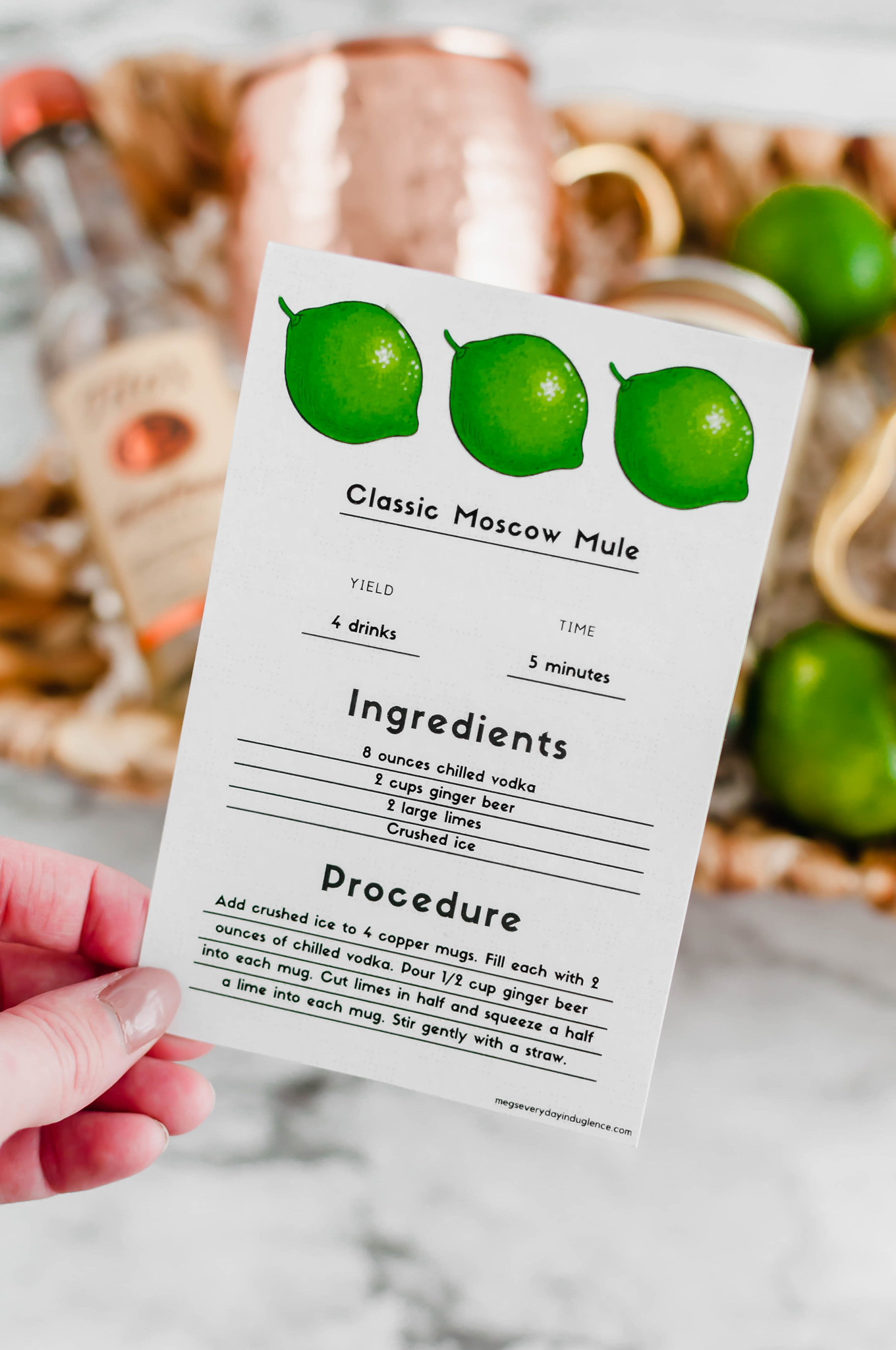 Close up of moscow mule recipe card printable