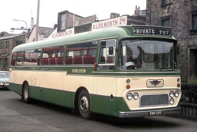 Scottish Omnibuses ( Eastern Scottish ) . ZB121 . EWS121D . Lancaster Bus Station . Sunday 31st-August-1969 .