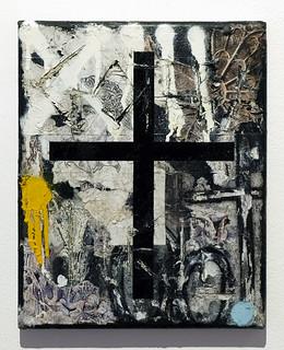 Zavier Black 'Black Thirteen', 2019 Oil, oil bar, house paint, spray paint, pencil drawing, collage on canvas 30x24cm
