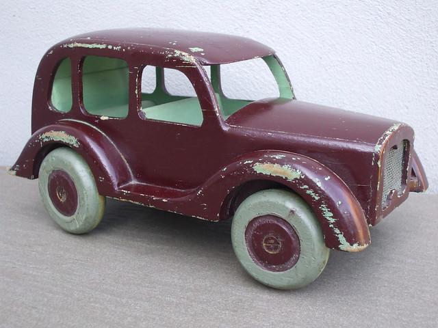 Vintage Hand Made Large Folk Art Style Burgundy Toy Saloon Car