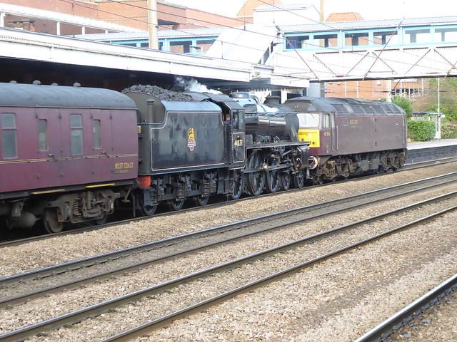 47804 and 44871 heading north through Welwyn Garden City