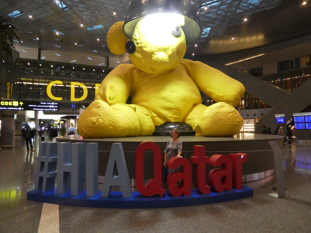 The centrepiece bear in Hamad International Airport, Qatar