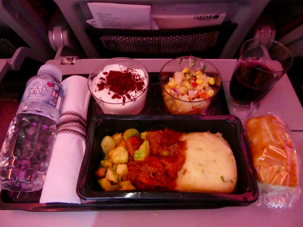 Dinner on board our Qatar Airways flight from Doha to Jakarta