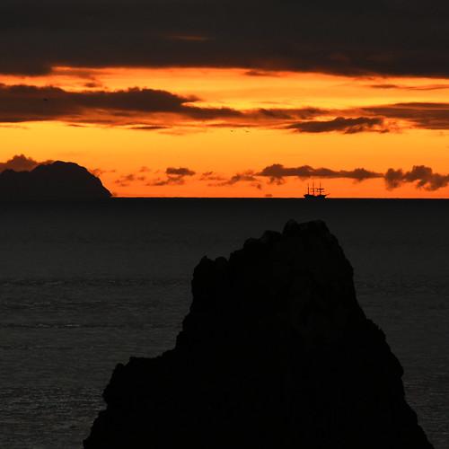 sunset dawn madeira portugal atlantic sunrise pirate sailing ship