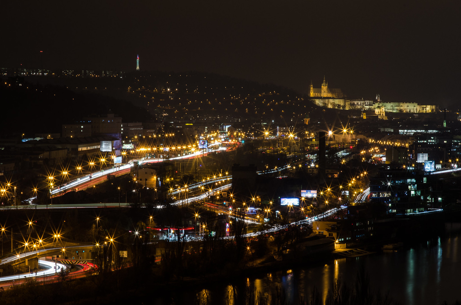 Light catching in Prague during autumn night