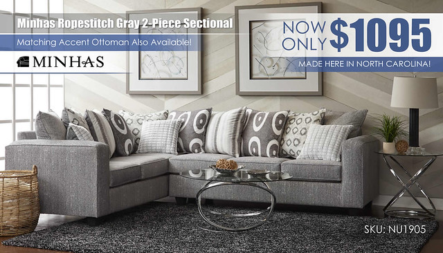 Minhas Ropestitch Gray 2-Piece Sectional_NU_1905_Update