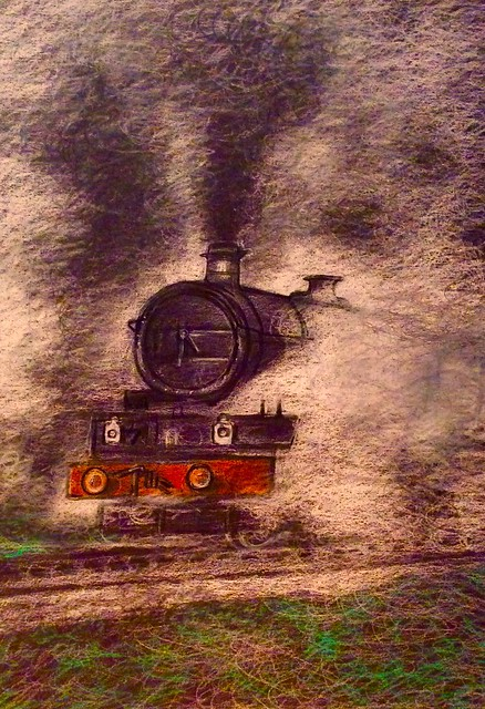 The fascination of steam . Coloured pencil drawing on black card by jmsw.