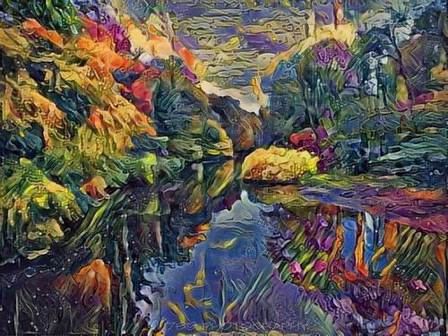 m31 andromeda galaxy space outerspace interstellar journey river scene landscape colour vivid multicolour trees valley sky outdoor abstract art artwork