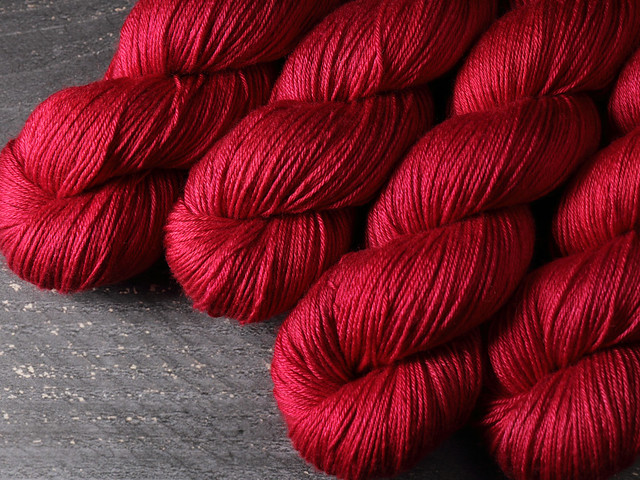 Brilliance 4 Ply – British Bluefaced Leicester wool and silk hand-dyed yarn 100g – 'Cherry'