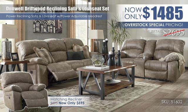 Dunwell Driftwood Reclining Set 51602_UpdatedClearance