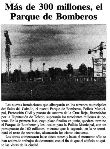 Noticia de la construcción del nuevo parque de bomberos. El día de Toledo, 27 noviembre 1987