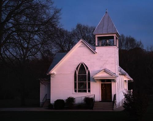 otterbeinchapel virginia dusk sunset church chapel mountjackson unitedstatesofamerica