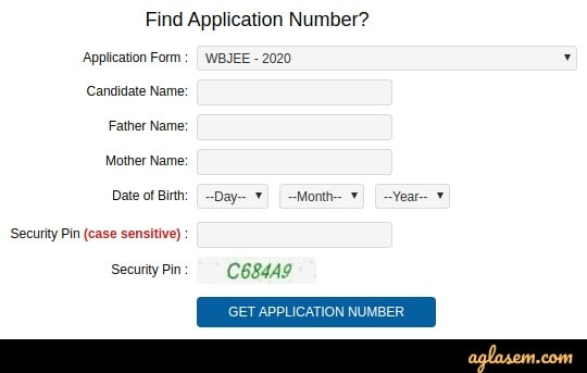 WBJEE 2020 forgot application number