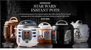 絕地廚神的崛起!Williams Sonoma推出五款《星際大戰》角色造型萬用電子鍋(Star Wars Instant Pot Duo Pressure Cooker)