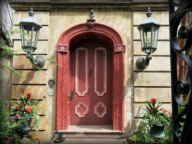 Front door, Cleland Kinloch Huger House, 8 Legare Street (1857), Charleston, SC