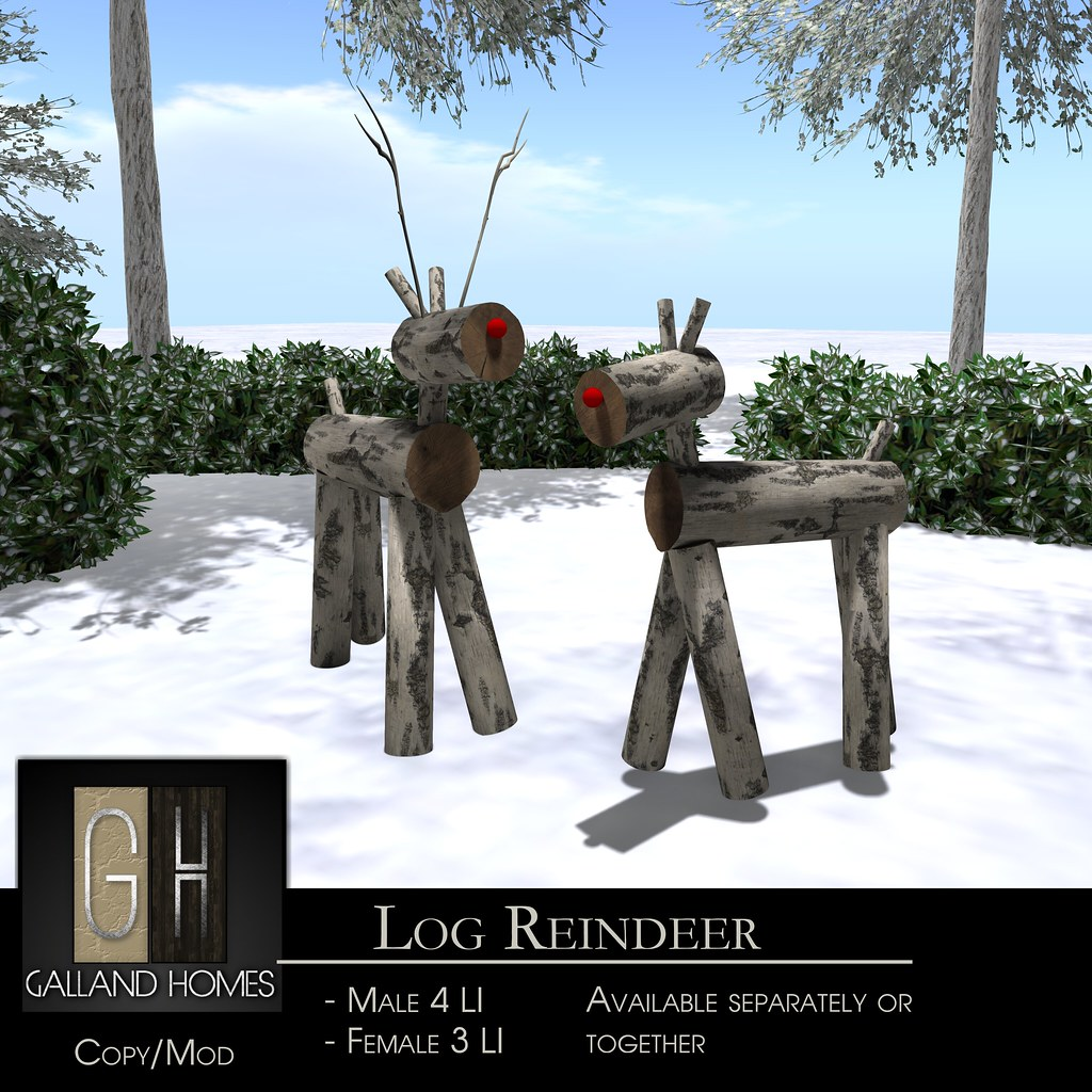 Log Reindeer by Galland Homes